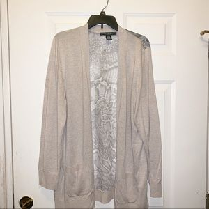 89th & Madison Cardigan with Sheer Snake Print